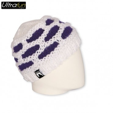 BEANIE SHRED PUFFBALL WHITE/PURPLE